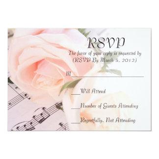 Wedding Music Light Pink Roses RSVP card 13 Cm X 18 Cm Invitation Card