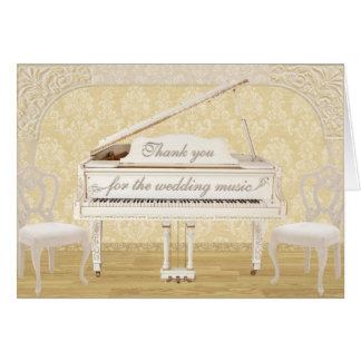 Wedding Music Thank You with White and Gold Piano Card