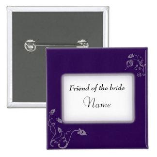 Wedding name tag 15 cm square badge