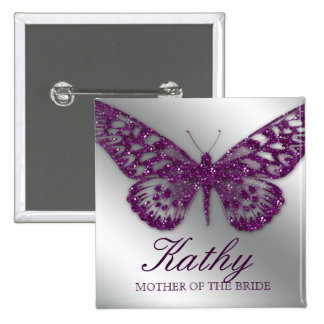 Wedding Name Tag Button Sparkle Purple Butterfly