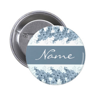 Wedding name tags - customizable blue orchids 6 cm round badge