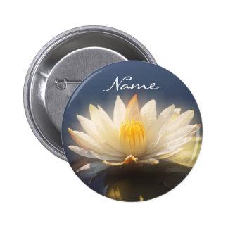 Wedding name tags - customizable white lilies pin