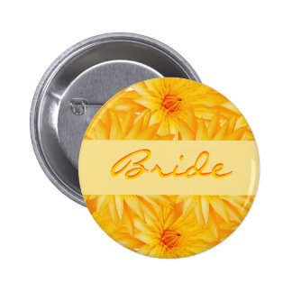 Wedding name tags - customizable yellow badges pinback button
