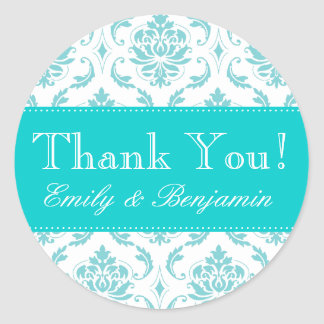Wedding Names Aqua Damask Thank You Labels