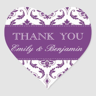 Wedding Names Purple Damask Thank You Labels Heart Sticker