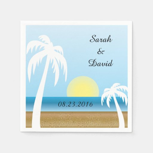Wedding Napkins - Beach Theme Paper Napkins