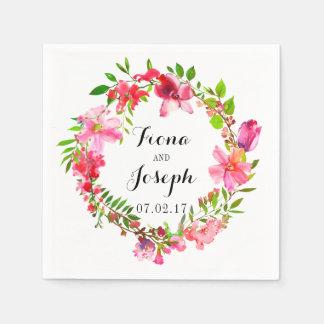 Wedding Napkins Floral Summer Watercolor Wreath Paper Serviettes
