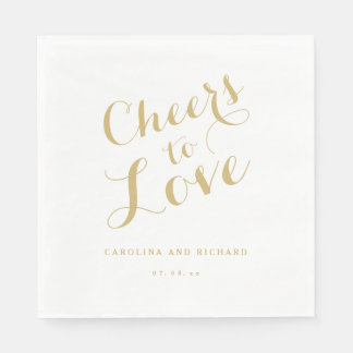 Wedding Napkins | Gold Cheers to Love Paper Serviettes