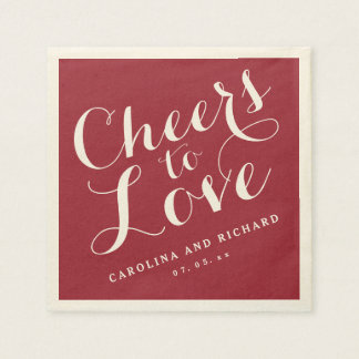 Wedding Napkins | Marsala Cheers to Love Disposable Serviette