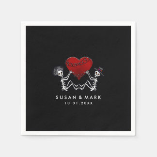 Wedding Napkins - Skeletons with Heart Disposable Serviettes