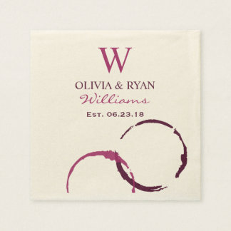 Wedding Napkins | Wine Monogram Disposable Napkins