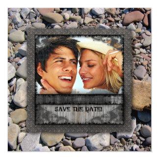 Wedding Nature Beach Stones Engagement Party 13 Cm X 13 Cm Square Invitation Card