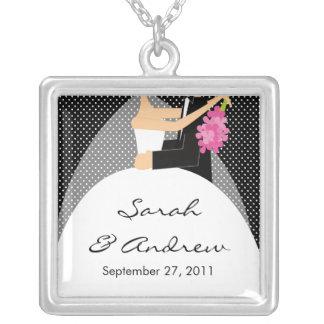 Wedding Necklace Bride Groom Black Polka Dots