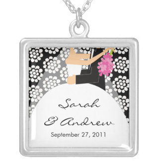 Wedding Necklace Bride & Groom Black White Floral