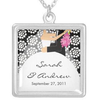 Wedding Necklace Bride & Groom Black White Floral