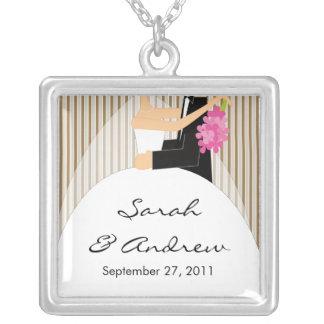 Wedding Necklace Bride & Groom Brown Stripes