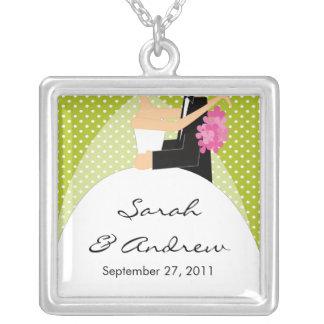 Wedding Necklace Bride Groom Green Polka Dots