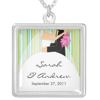 Wedding Necklace Bride & Groom Green Stripes