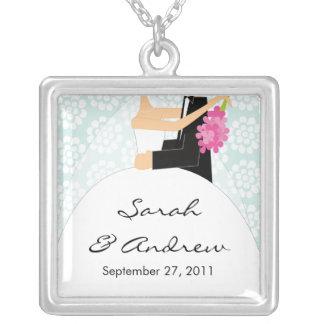 Wedding Necklace Bride & Groom Light Blue Floral