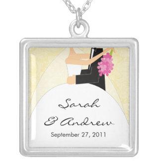 Wedding Necklace Bride & Groom Pale Yellow Damask