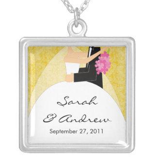 Wedding Necklace Bride & Groom Yellow Damask