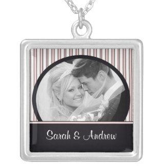 Wedding Necklace Photo Black Pink Stripes Pendant