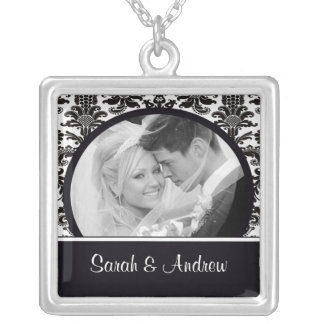 Wedding Necklace Photo Black White Damask Pendant