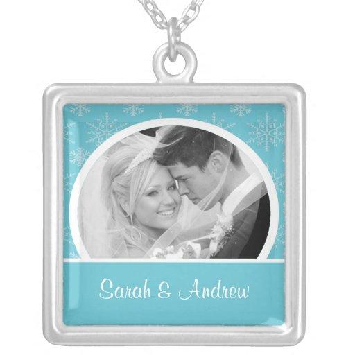 Wedding Necklace Photo Blue SnowflakesPendant