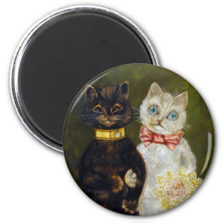 Wedding of Cat, Louis Wain 6 Cm Round Magnet
