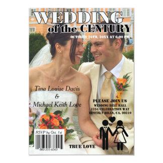 Wedding Of The Century Black White Magazine Cover 13 Cm X 18 Cm Invitation Card