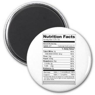 Wedding or Anniversary Sweet Funny Nutrition Label 6 Cm Round Magnet
