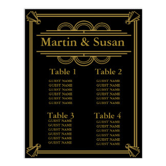 WEDDING OR PARTY TABLE PLANNER Collection Seating Poster