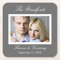 Wedding or Special Event Photo Coasters - Gray