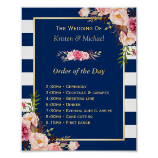 Wedding Order of The Day Floral Navy Blue Stripes Poster