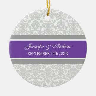 Wedding Ornament Favor Gray Plum Damask