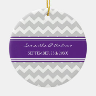 Wedding Ornament Favor Grey Violet Chevron