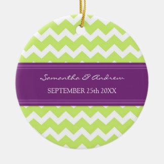 Wedding Ornament Favor Lime Plum Chevron