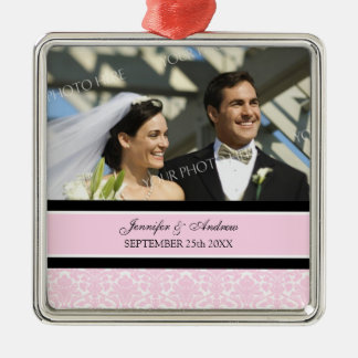Wedding Ornament Favor Pink Black Damask