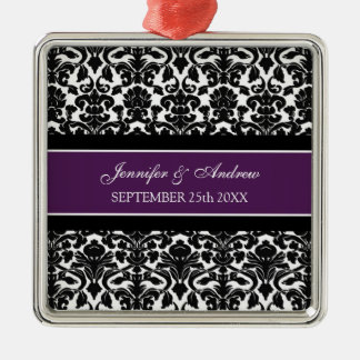 Wedding Ornament Favor Plum Black Damask