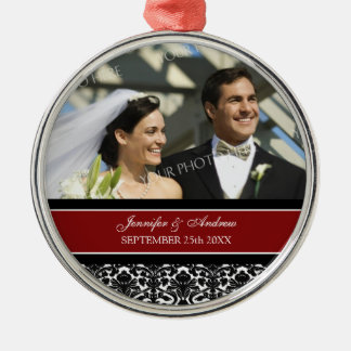 Wedding Ornament Favor Red Black Damask