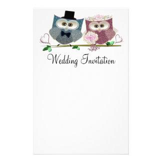 Wedding Owls Personalised Wedding Stationary Customized Stationery