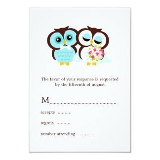 Wedding Owls RSVP 9 Cm X 13 Cm Invitation Card