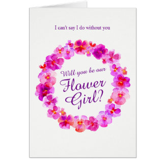 Wedding pansy pink will you be my flower girl? card