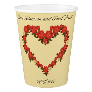 Wedding paper cup with roses - Heart