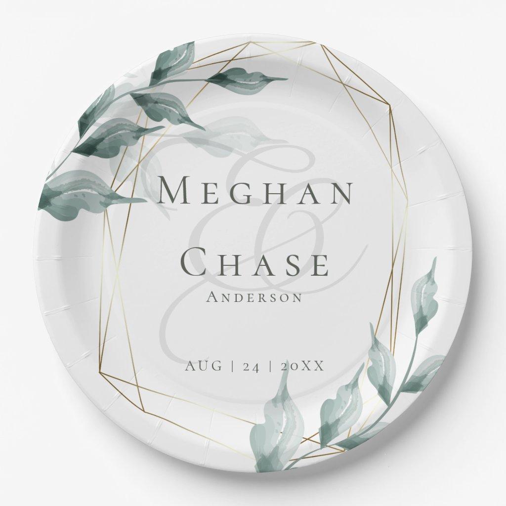 Wedding Paper Plate    Greyed Jade Green Botanical