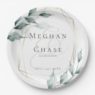 Wedding Paper Plate  | Greyed Jade Green Botanical