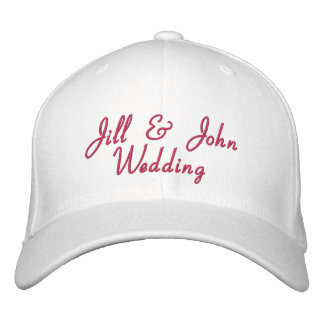 Wedding Party Bride Groom Names Hot Pink White Hat Embroidered Hats