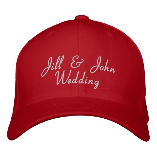Wedding Party Bride & Groom Names Red Hat Embroidered Hat