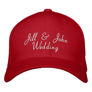 Wedding Party Bride Groom Names Red Hat Embroidered Hat