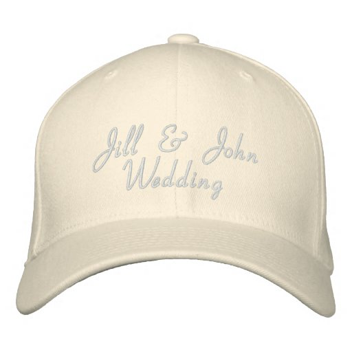 Wedding Party Bride & Groom Names White Hat Embroidered Baseball Caps